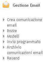 Menù Gestione Email